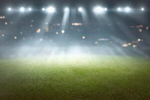 Sports field with blurry spotlights